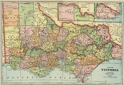 Map Of Victoria Australia With Cities And Towns.Victoria Australia Authentic 1889 Map Showing Towns Rivers