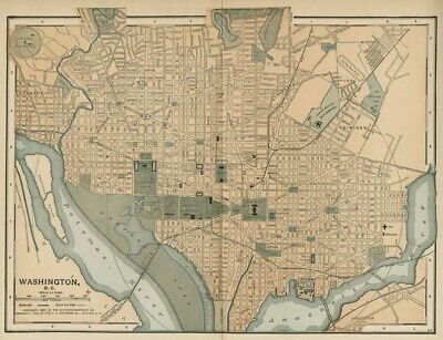 Washington DC Street Map / Plan: Authentic 1903 (Dated) Landmarks, Stations, +