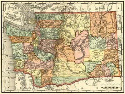 Washington State Map: Authentic 1895 (Dated) / Towns, Counties, Railroads & More