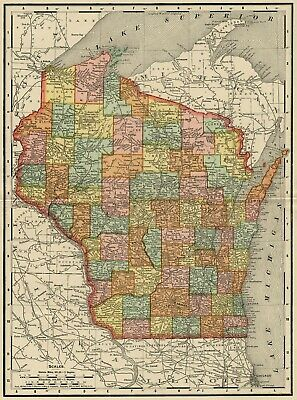 Wisconsin Map: Authentic 1895 (Dated) showing Towns, Counties, Railroads & More