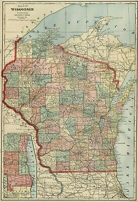 WISCONSIN Map: Authentic 1899; Counties, Cities, Towns, RRs, Topography