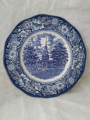 """Staffordshire Ironstone Liberty Blue Independence Hall Dinner Plate 10"""" Ex Cond"""