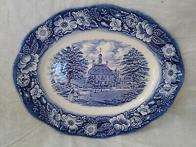 """Liberty Blue Staffordshire Governor's House Williamsburg 12"""" Oval Platter"""