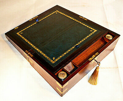 Early Victorian Writing Slope with Secret Drawers, Inkwell & Key, circa 1840