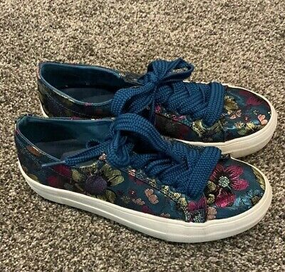 Madden Girl Brocade Floral Shoes Embroidered Sneakers Adison 5.5 Blue Teal Gold