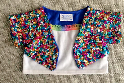 GENUINE ** Build A Bear WHITE TOP WITH ATTACHED FULL SEQUIN OVERCOAT BABW