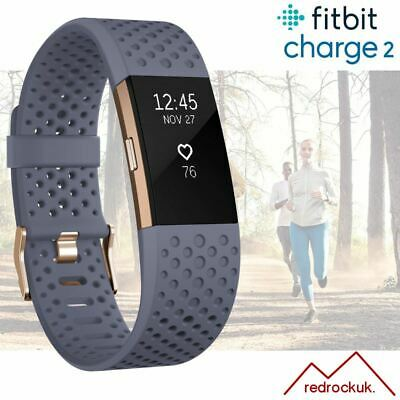 Fitbit Charge 2 Special Edition Activity Tracker HRM - Grey Blue Gold / Small