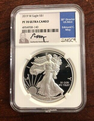 2019-W $1 Proof American Silver Eagle NGC PF70 Ultra Cameo Edmund Moy Signed