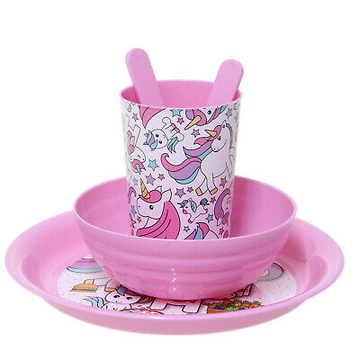 Lilac Kids Unicorns Dinner Lunch Set for Girls Toddler Childrens Plate Bowl Cup
