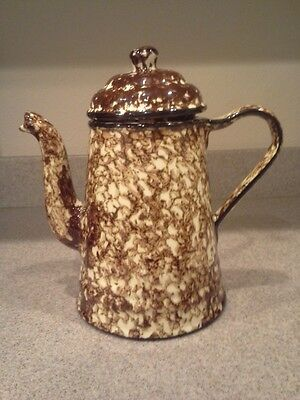 Vintage Stangl Pottery Brown Town and Country Spongeware Lidded Coffee Pot