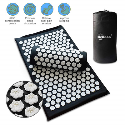 Benooa Lotus Acupoint Acupressure Mat and Pillow Set,Acupuncture Massage Trigger