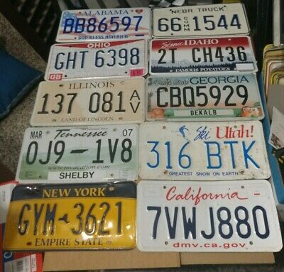 Mixed Lot 10 Old used License Plates Craft grade or better All Different states!