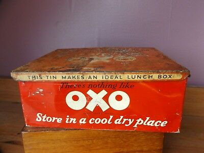 Vintage Original Oxo Cubes Tin 1950's Kitchenalia Advertising