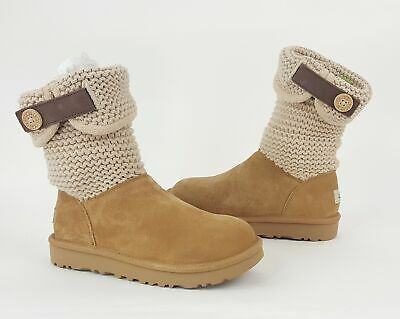 416c108927e WOMEN'S SHOES UGG Shaina Suede & Knit Cuff Boots 1012534 Grey *New ...