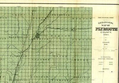 1898 PLYMOUTH County Iowa Map w/RRs, Towns, Cities, Primary Roads: Detailed