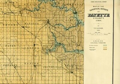 1905 FAYETTE County Iowa Map w/RRs, Towns, Cities, Primary Roads: Detailed