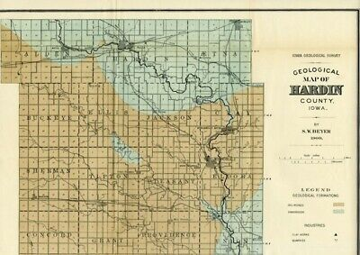 HARDIN County Iowa Map DATED 1900 with RRs, Towns, Cities, Primary Roads: Detail