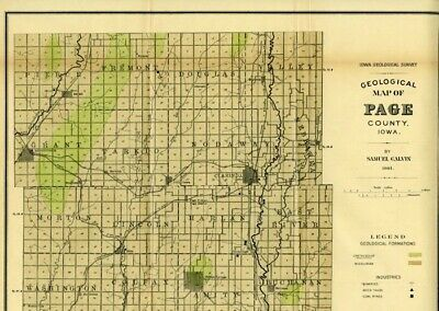PAGE County Iowa Map DATED 1901 with RRs, Towns, Cities, Primary Roads: Detail