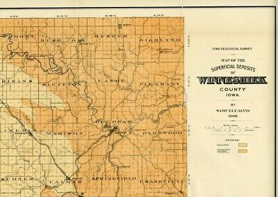 WINNESHIEK County Iowa Map DATED 1906 with RRs, Towns, Cities & Primary Roads