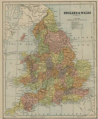England & Wales Map: Authentic 1898; Cities; Counties; Railroads; Canals MORE