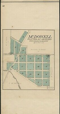 McDowell / Granada Missouri Map (Barry County) Authentic 1909. Streets, Parcels