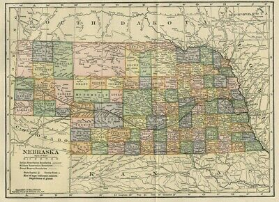 Nebraska Map: Authentic 105+ Years Old; Counties, Cities, Towns, Topography, RRs