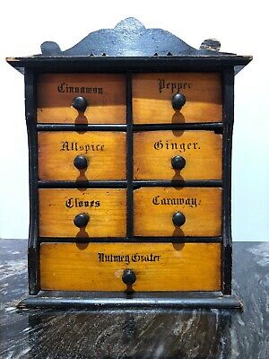 Antique Spice Chest Victorian Rustic Wall Art Cafe Country Kitchen Etc