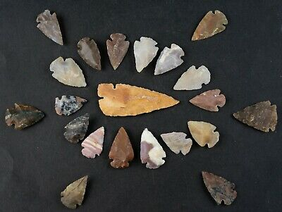 "21 PC Flint Arrowhead Ohio Collection Points 1-3"" Spear Bow Stone Hunting 1655"