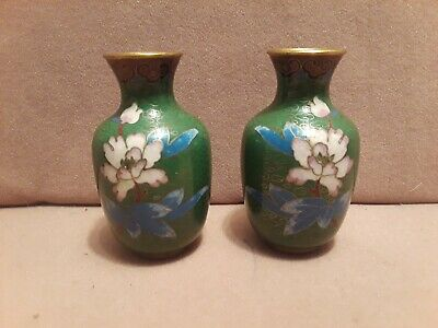 """Vintage Chinese Pair of Mirrored Cloisonne Miniature Vases 3 1/8"""" tall"""