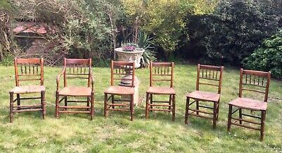Six Antique Country Spindle Back Chairs - Original early 1800's OFFERS WELCOME!