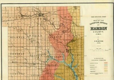 1900 HARDIN County Iowa Map w/RRs, Towns, Cities, Primary Roads: Detailed