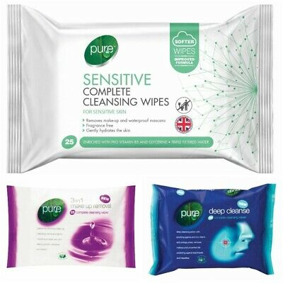 6 Pack Pure Facial Cleansing Skin Hydration Wipes Make Up Removal All Skin Types