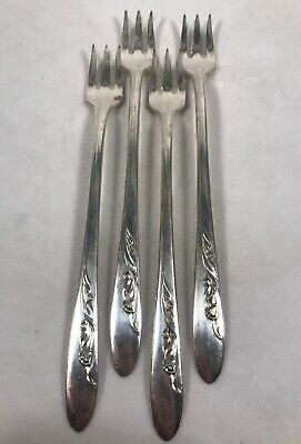 PV03734 Vintage Silverplate Carlton CHERIE Cocktail / Seafood Fork - 4pcs