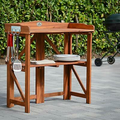 Outdoor Wooden Bench Food BBQ Food Storage Station + 3 BBQ Utensils + Foldable
