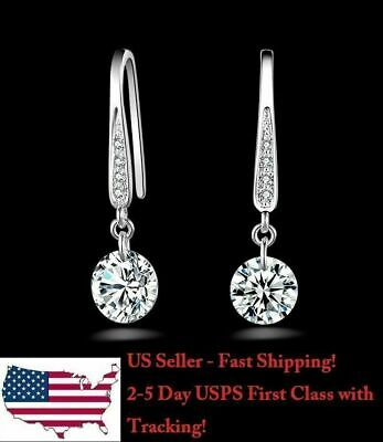 1 Pair Beautiful Silver Plated Crystal Dangle Earring with Diamond Pendant