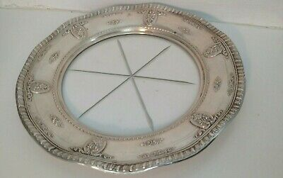 "Nice vintage Wallace sterling silver rose point crystal 8"" plate"
