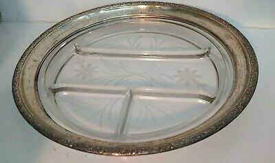 "12"" vintage Whiting sterling silver etched crystal divided serving tray platter"