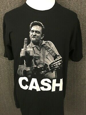 Johnny Cash Middle Finger 'CASH' Men's Short Sleeve Graphic T-shirt XL MINT