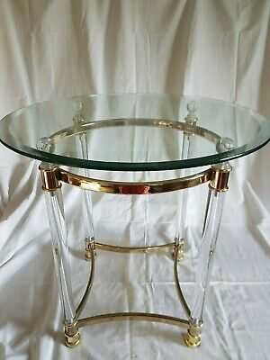 Brass lucite and bevelled glass round Hollywood glamour side table