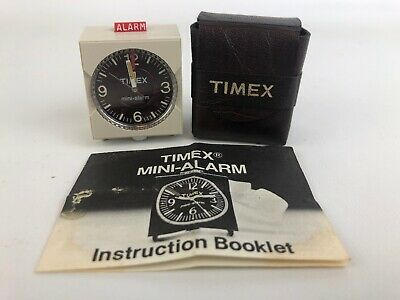 Vintage Mini Timex Travel Alarm Clock With Case & Instructions