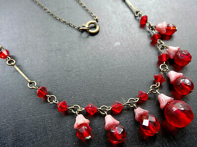 vintage art deco Czech pink red glass flower bead fringe chain necklace -A448