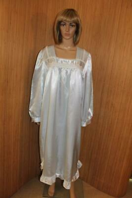 Vtg Victorian Style Baby Blue Thicker Satin Poly Nightdress Size  Xl