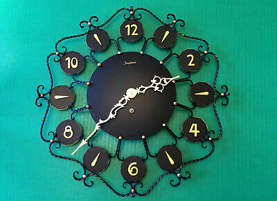 NEW Vintage JUNGHANS German Wrought Iron 8 Day Wall Clock 15 IN Tested Runs Fast