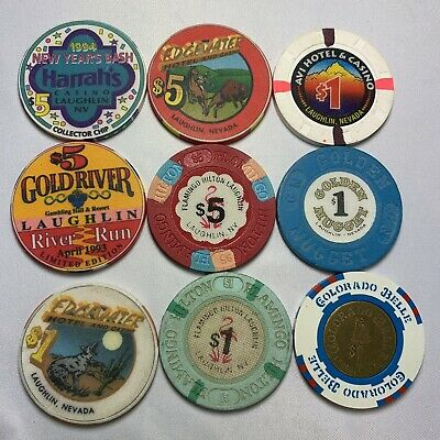 Lot Of 9 NON LAS VEGAS Outside Casino Poker Gaming Chips Nevada Laughlin Only
