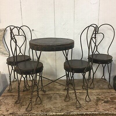 Ice Cream Parlor Metal Table And Chairs Children's Vintage Doll Play Set