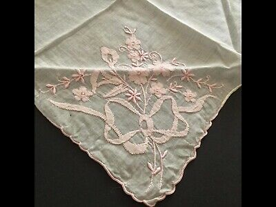 Vintage Handkerchief Embroidered Pink Flowers & Ribbons, Hand Rolled Edges