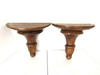"Set of 2 Vintage Carved Wood Wall Shelf Sconce Solid Wood 12"" x 11.5"" Thailand"