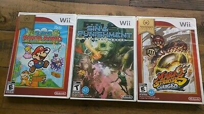 NEW LOT OF 3 Wii Games - Super Paper Mario Strikers Sin & Punishment U - Sealed