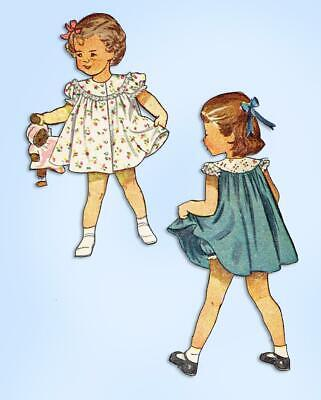 1940s Original Vintage Simplicity Pattern 2823 Baby Girls Dress Size 6 Months