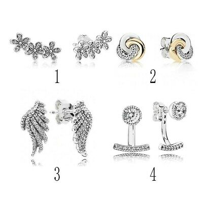 Silver Stud Earring Daisy Clusters Interlinked Circles Majestic Feathers